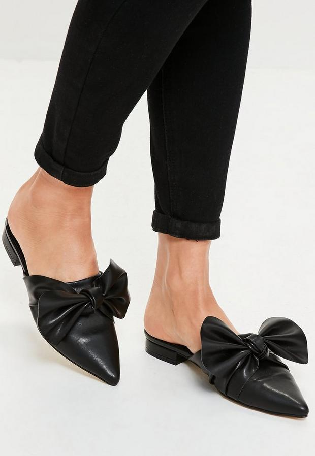 Black Knot Front Pointed Mules, Black