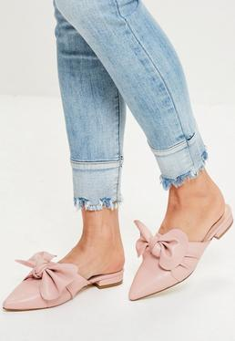Nude Knot Front Pointed Mules