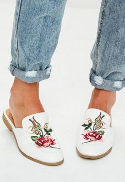 White Embroidered Slip On Mules