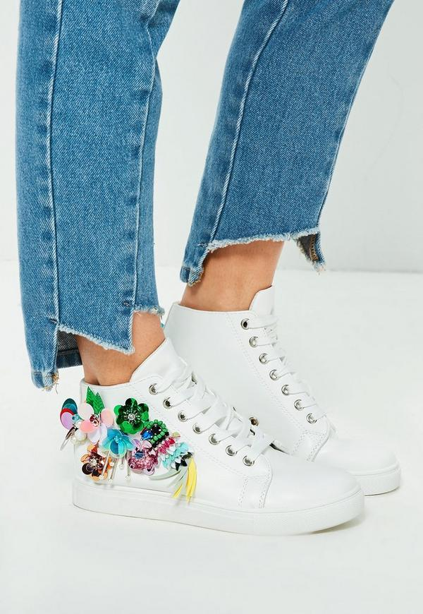 White Embellished High Top Trainers
