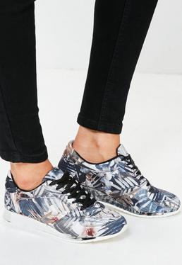 Grey Palm Printed Trainers