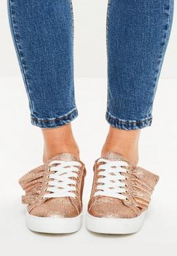 Rose Gold Ruffle Lace Up Sneakers
