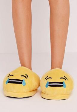 Lachender-Emoji Pantoffeln in Gelb