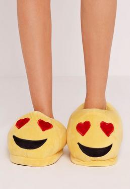 Chaussons jaunes emoji love
