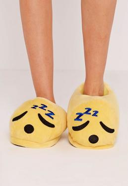 Yellow Sleepy Emoji Slippers