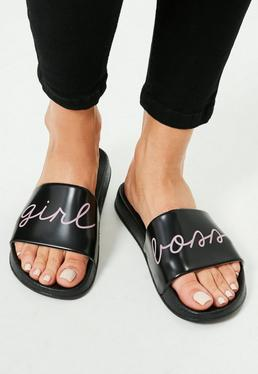 Black Slip On Girl Boss Slogan Sliders