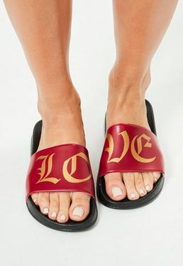 Red Slip On Love Slogan Sliders