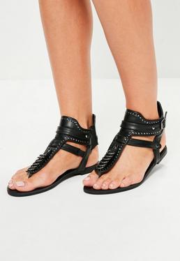 Black Metallic Detail Flat Sandals