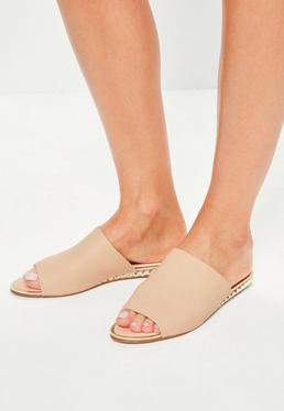 Beige metal detail peep toe slip on mules