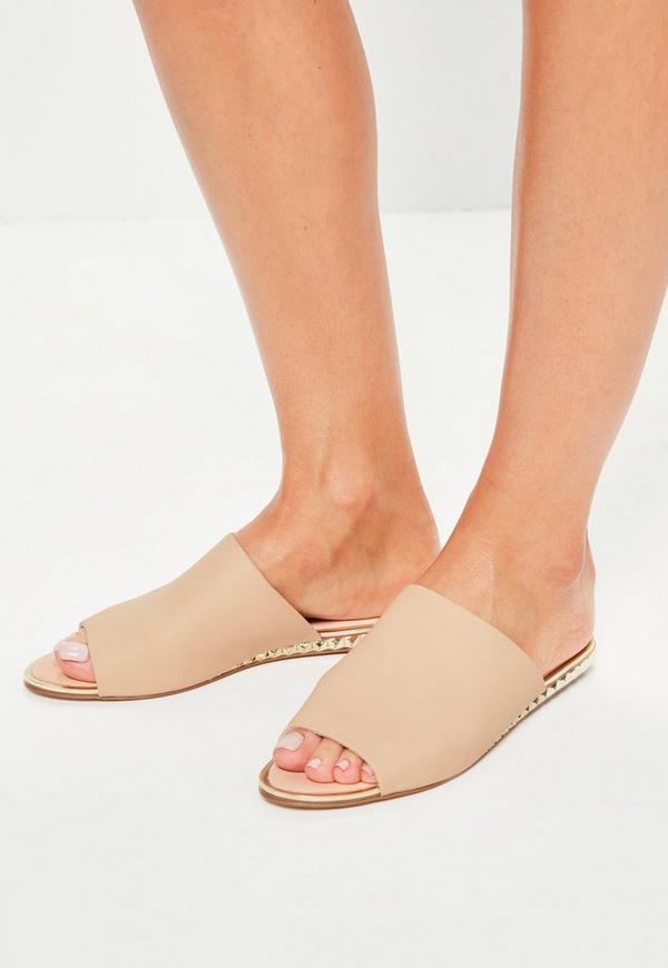 Beige metal detail peep toe slip on mules