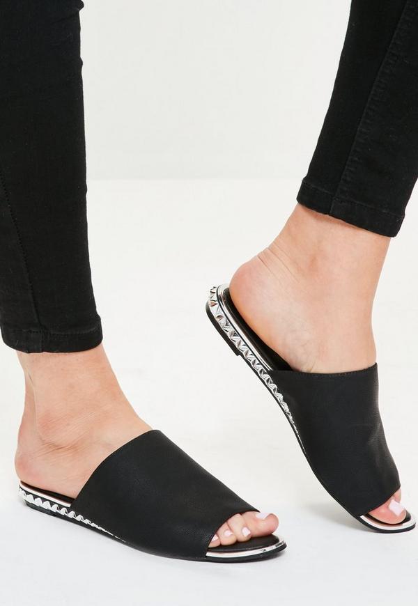 Black metal detail peep toe slip on mules