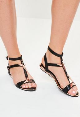 Black Shiny Studded Heel Sandals