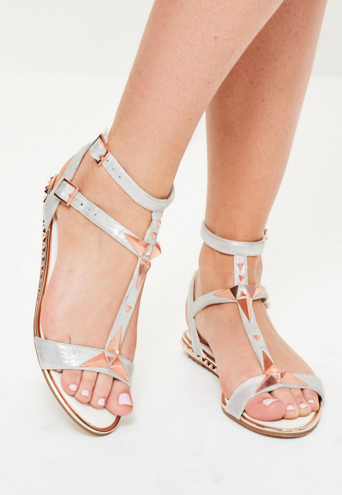 Silver Shiny Studded Heel Sandals | Missguided
