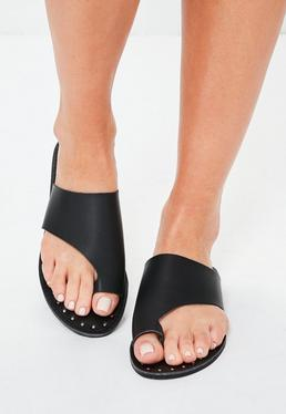 Black Faux Leather Flat Studded Sandals