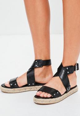 Black Flatform Studded Strappy Sandals