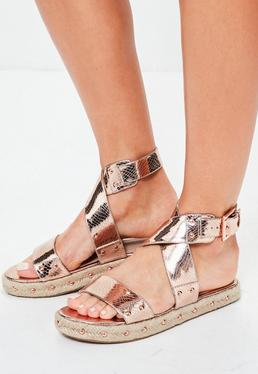 Rose Gold Flatform Studded Strappy Sandals