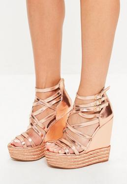 Rose Gold Metallic Platform Wedges