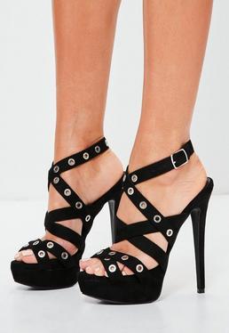 Black Eyelet Cross Strap Platform Sandals