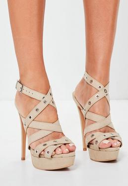 Nude Eyelet Cross Strap Platform Sandals