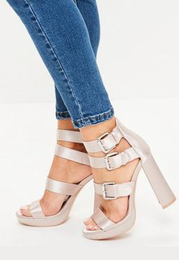 Pink Multi Buckle Satin Platform Sandals