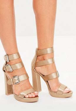 Gold Multi Buckle Satin Platform Sandals
