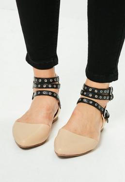 Beżowe buty balerinki z paskami zapinanymi na klamerki