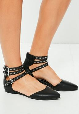 Black Multi Strap Pointed Flats