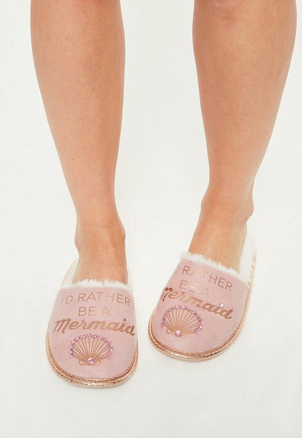 Pink Mermaid Slogan Slippers