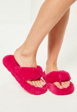 Pink Fluffy Toe Post Slippers