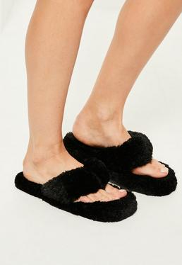 Black Fluffy Toe Post Slippers