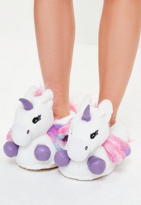 White Unicorn Slippers