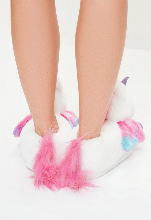 White Unicorn Slippers Missguided