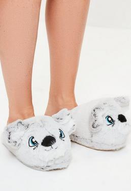 Grey Cute Bear Slippers