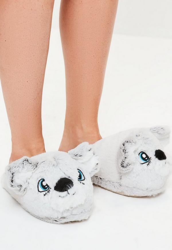 Grey Cute Bear Slippers