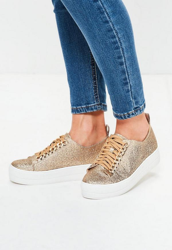 Gold Chain Lace Up Flatform Trainers