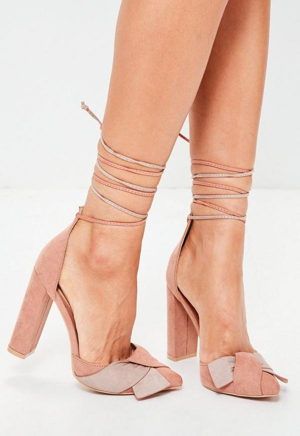 Pink Multi Wrap Around Block Heeled Sandals