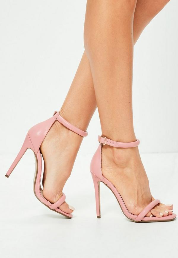 Pink Rounded Barely There Heeled Sandals