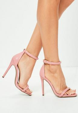 Riemen Absatz Sandaletten in Rosa
