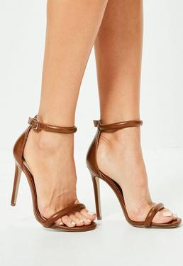 Brown Rounded Barely There Heeled Sandals