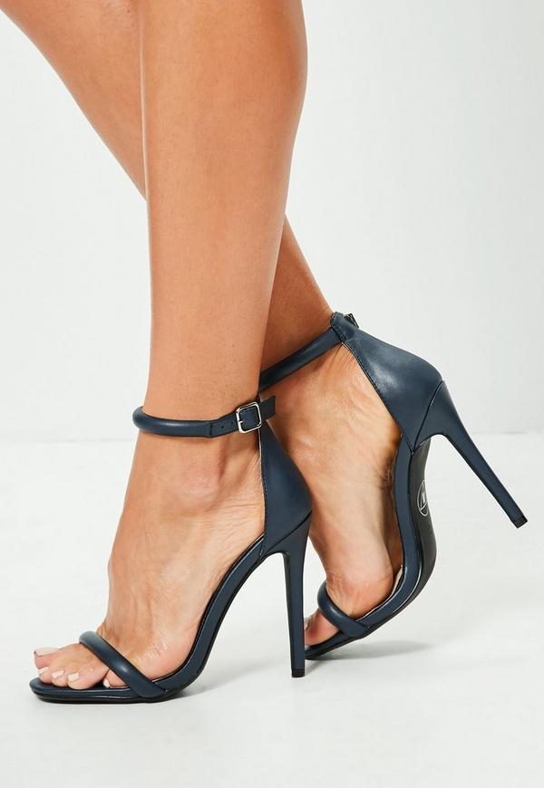 Navy Rounded Strap Barely There Sandals