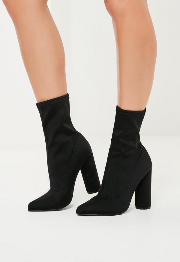 Black Shoe Boot Block Heel