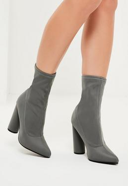 Grey Heeled Ankle Sock Boots
