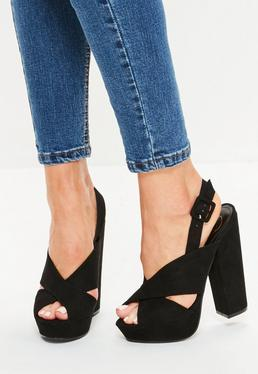Black Cross Strap Vamp Platform Shoes