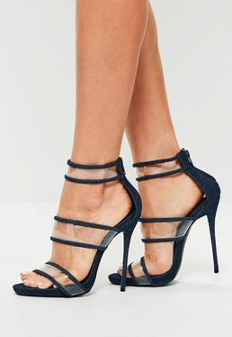 Blue Denim Strappy Clear High Heel Sandals