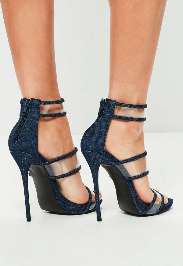 Blue Denim Strappy Clear High Heel Sandals | Missguided