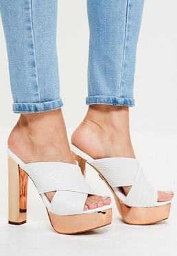 White Snake Cross Strap Platform Heeled Mules