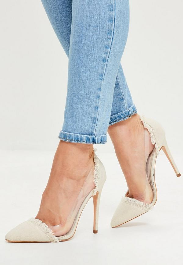 Beige Clear Panel Pointed Toe Court Shoes