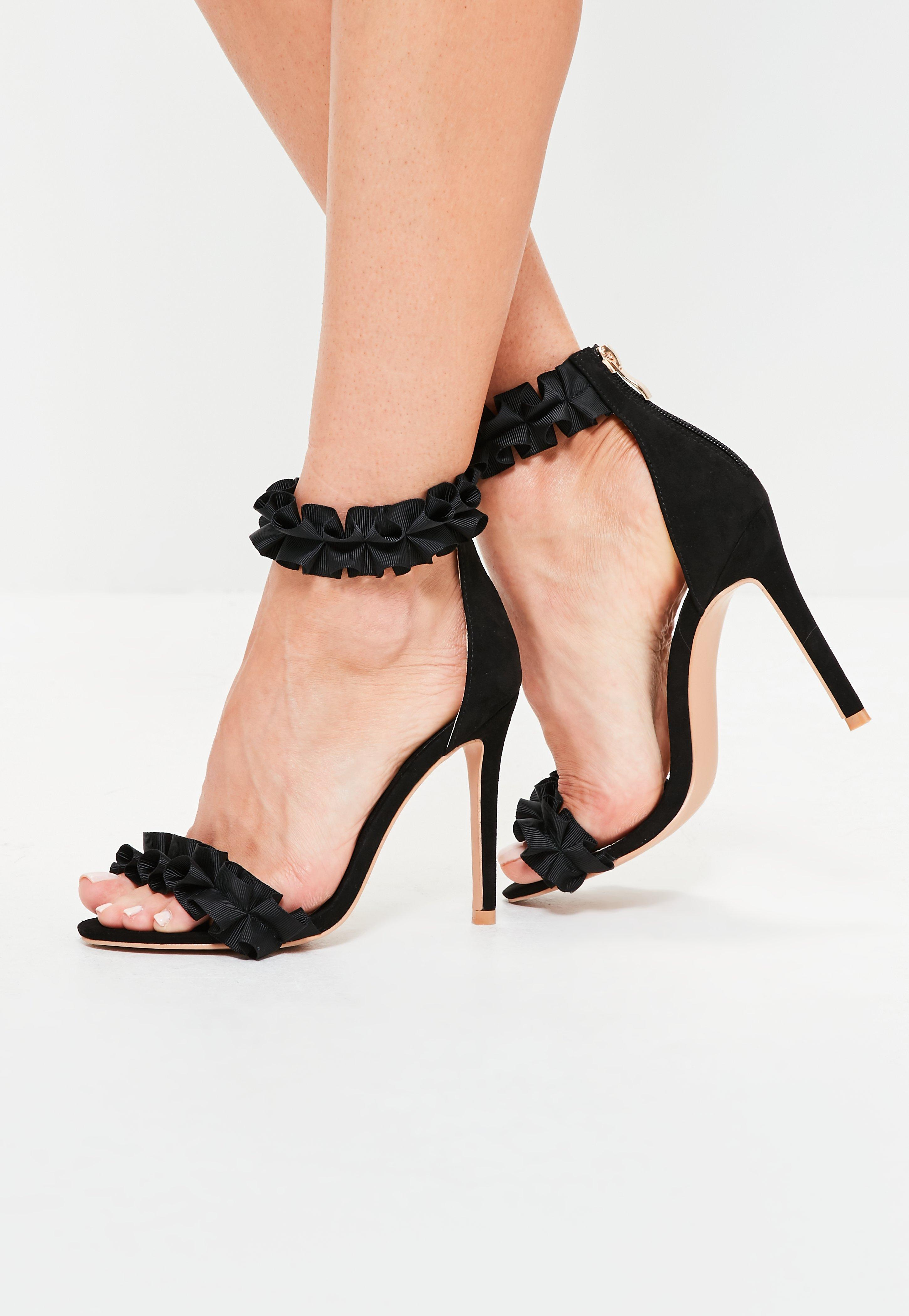 Black Ruffle Strap Sandals