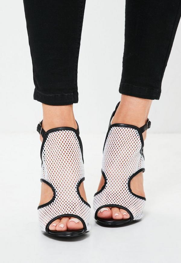 blockabsatz sandalen mit mesh eins tzen in wei missguided. Black Bedroom Furniture Sets. Home Design Ideas