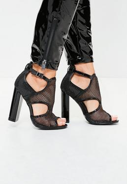 Black Mesh Paneled Block Heel Sandals